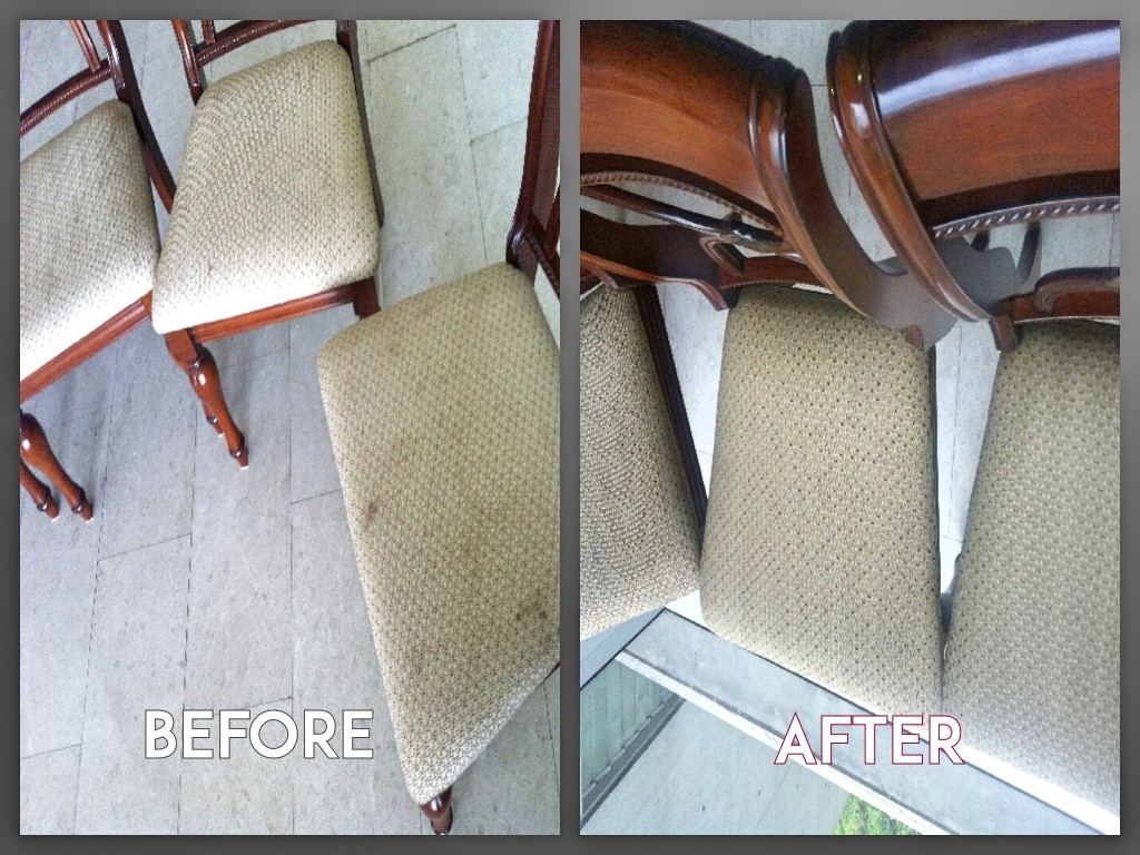 Before and after fabric upholstery cleaning